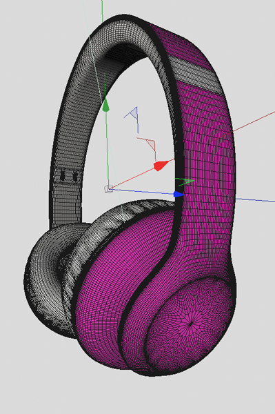3D mesh of the headphone