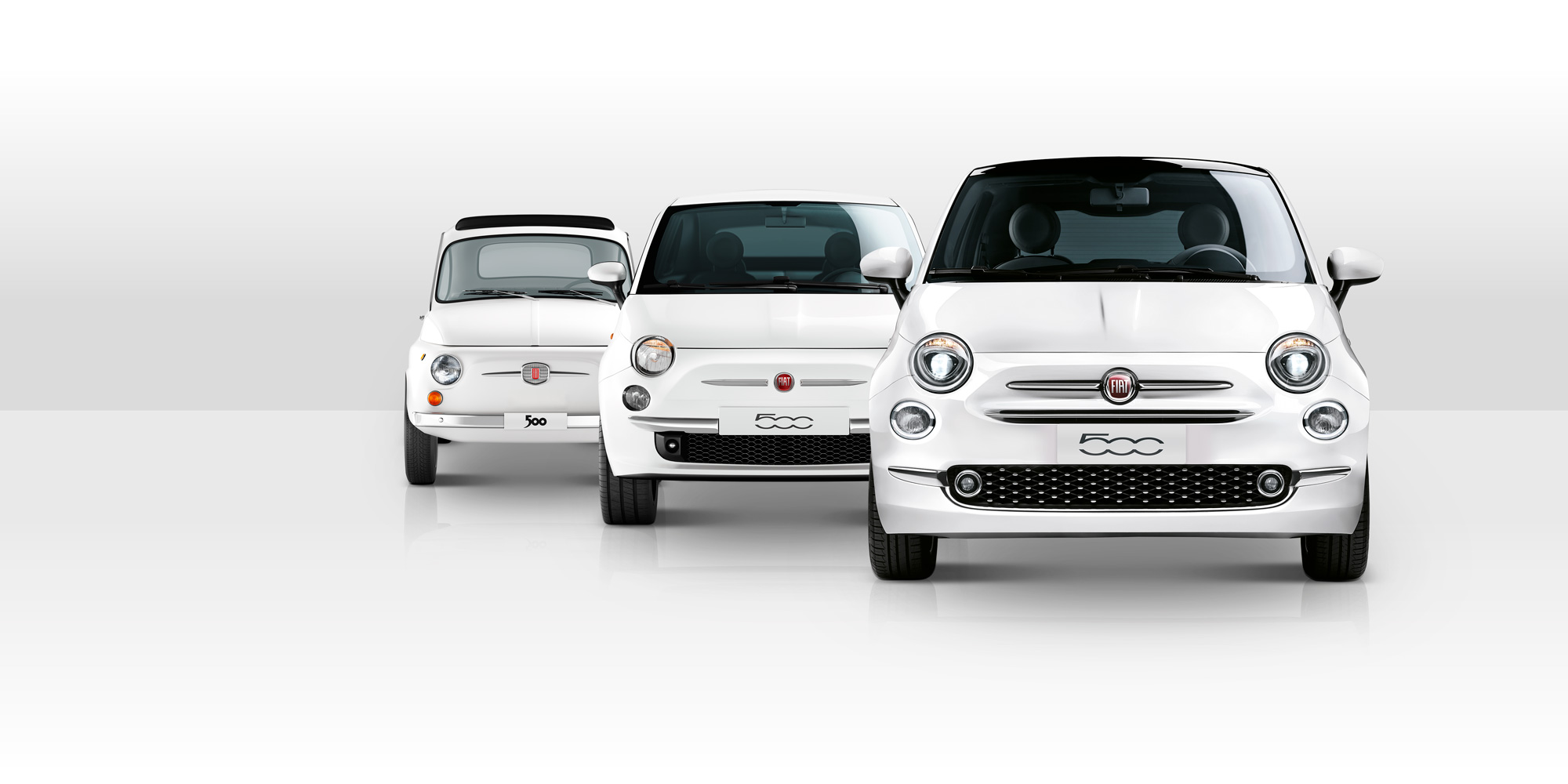 Fiat; 500; white; three; cars; overview; 3d; cgi; billboard; wit; drie; auto