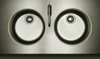 Kitchen design stainless steel Vola tap hob sink stylish design dark